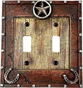 Urbalabs Western Cowboy Horseshoe and Star Decorative Light Switch Outlet Wall Plate Covers Country Home Rustic Light Switch Covers Single Double 2 Gang Switch Plates (Double Switch)