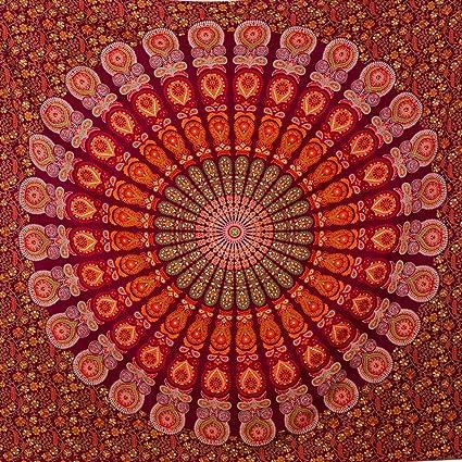 MOMOMUS Tapiz de Mandala - Hecho a Mano con Algodón 100% y Tintes Vegetales Naturales - Adornos de Arte para Pared de Hogar, Pareo/Toalla de Playa ...