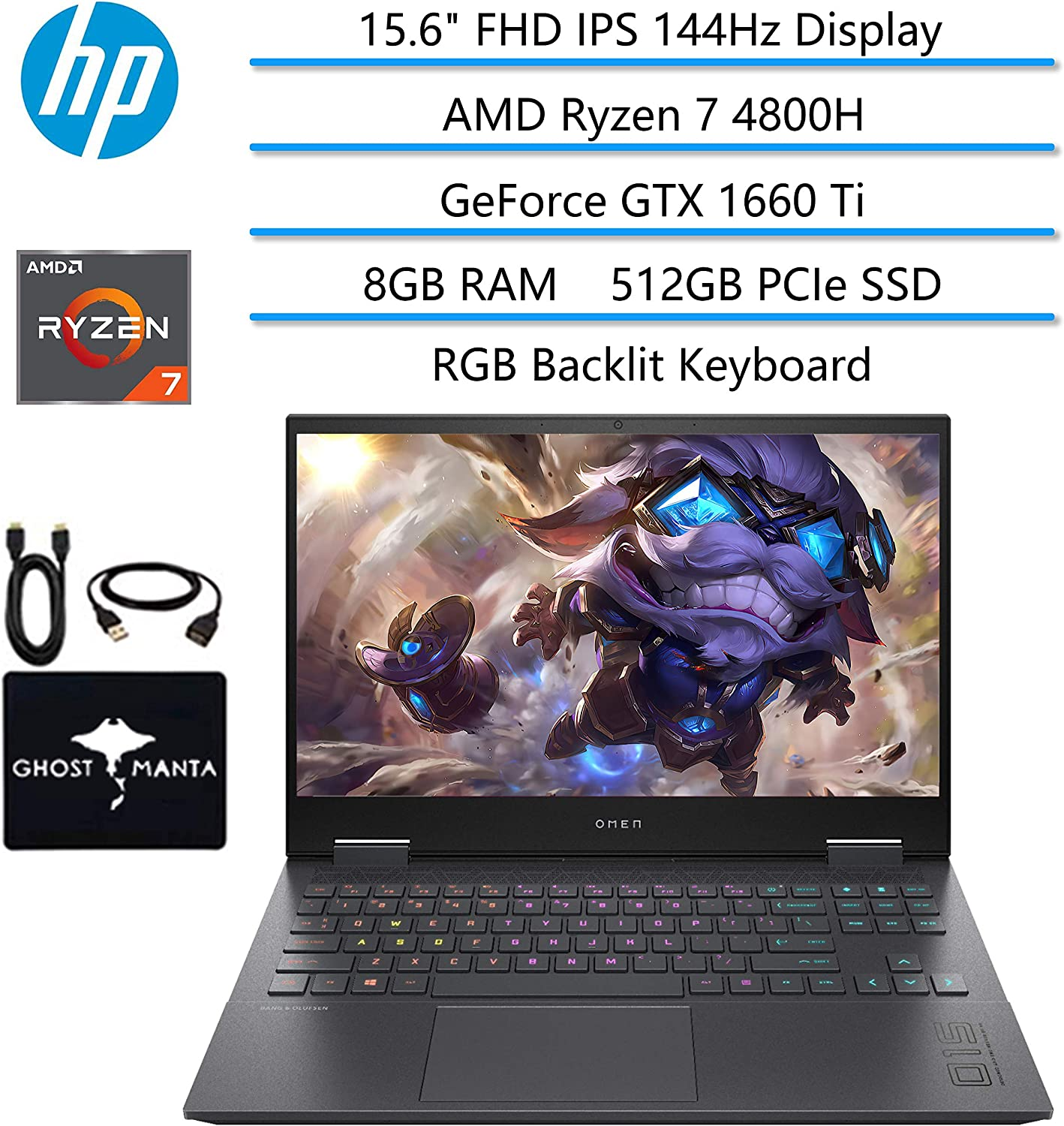 "2020 HP OMEN Gaming Laptop, 15.6"" FHD IPS 144Hz, AMD Ryzen 7 4800H 8-core(Beat i7-9850H), GeForce GTX 1660 Ti, 8GB RAM, 512GB PCIe NVMe SSD, RGB Backlit Keyboard, WiFi 6, w/GM Accessories"