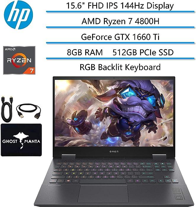 "2020 HP OMEN Gaming Laptop, 15.6"" FHD IPS 144Hz, AMD Ryzen 7 4800H 8-core(Beat i7-9850H), GeForce GTX 1660 Ti, 8GB RAM, 512GB PCIe NVMe SSD, RGB Backlit Keyboard, WiFi 6, w/GM Accessories"