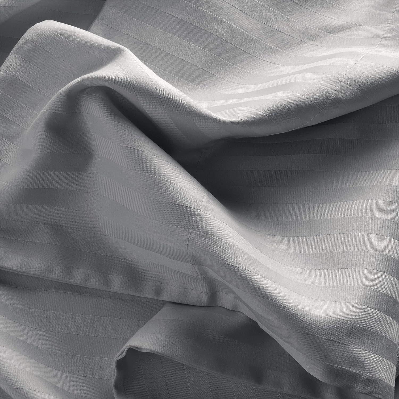 White Stone /& Beam 100/% Cotton Dobby Stripe Sateen Pillowcase Set King