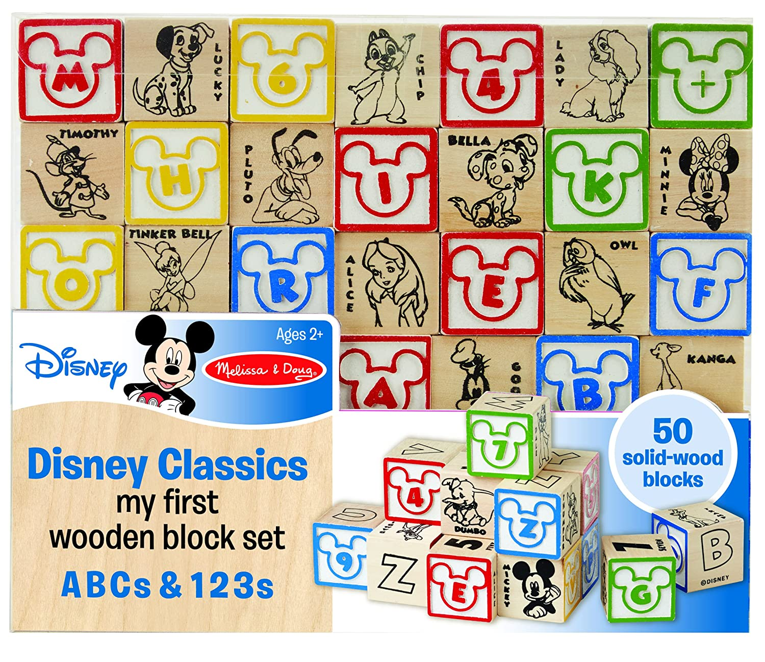 Melissa & Doug Disney Baby Classics My First Wooden Block Set - ABCs and 123s With 50 Solid-Wood Blocks 5756