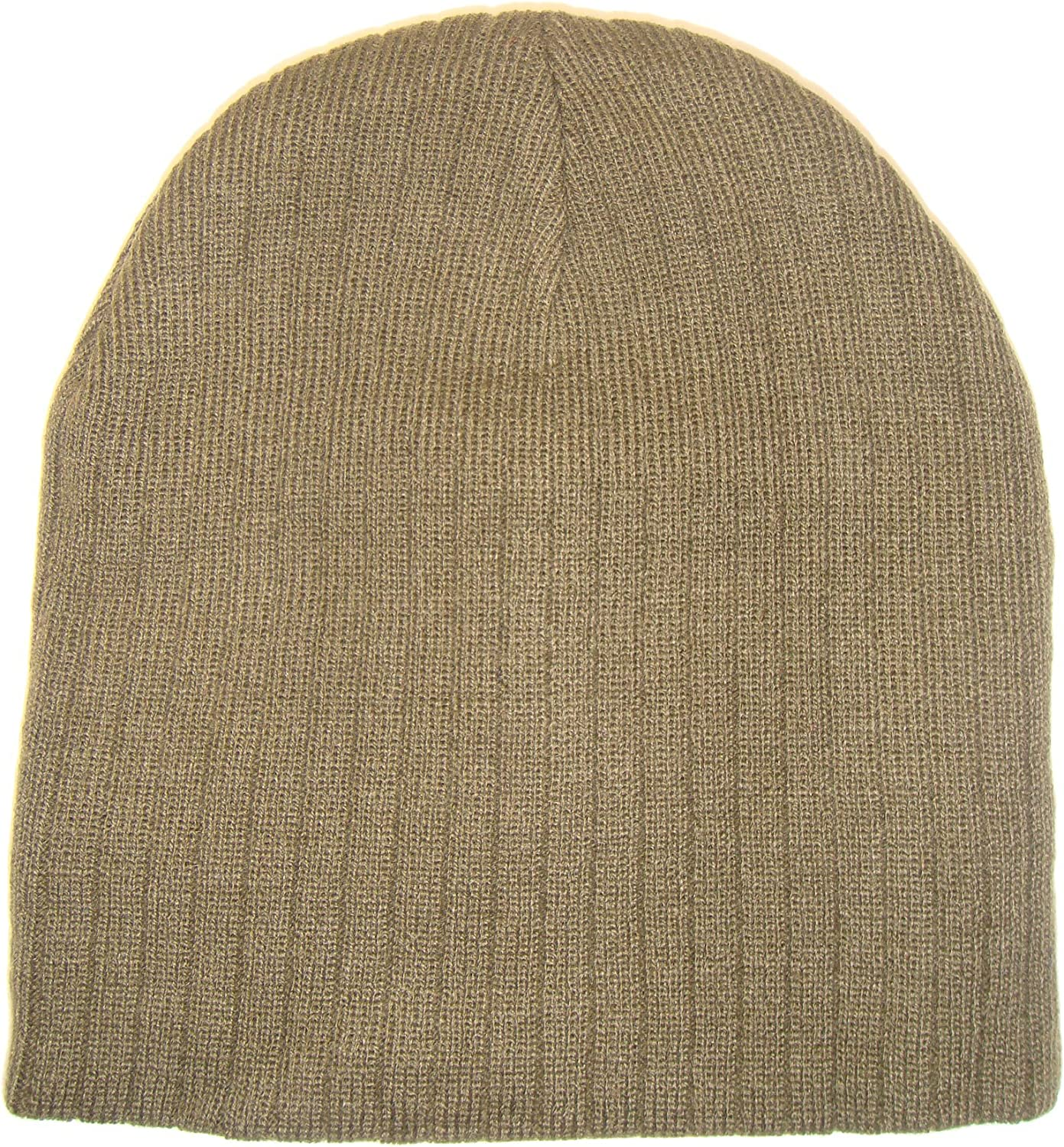 THS Ribbed Style Knit Short Ski Beanie Cap One Size, Khaki Tan