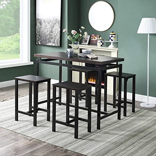 Henf Dining Set 5 Pieces Counter Height Dining Room Table