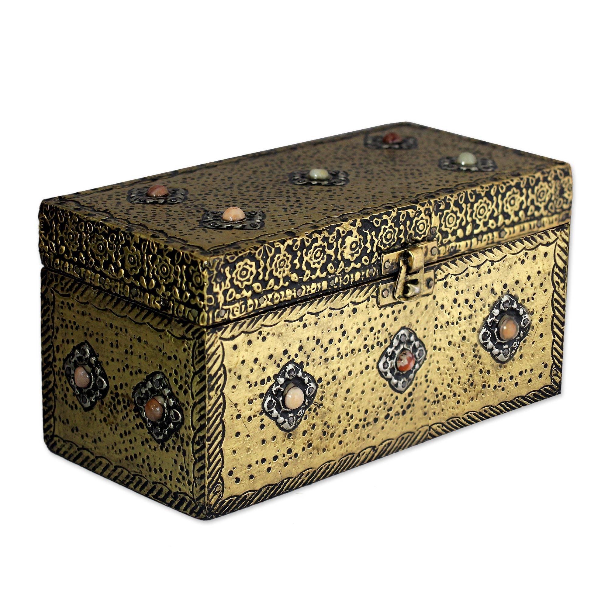 NOVICA Repousse Brass Jewelry Box, Metallic 'Mughal Treasure Chest'