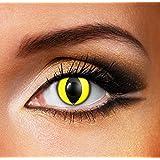 """CouleurTone® Lentilles de Contact de Couleur """"Yeux Chat Jaune"""" """"Yellow Cat Eye"""" - Sans Correction - Qualité de la Marque - Une bonne Idée de Costume / Maquillage pour le Carnaval ou Halloween"""