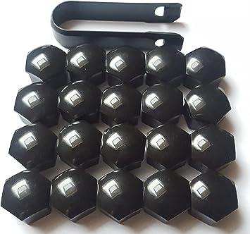 Viktex 20 Radschraubenkappen Abdeckungen Radmuttern Set 17mm Schwarz Glanz Abzieher Auto