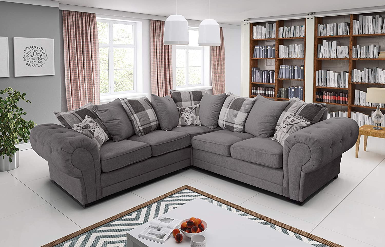 Amazing Sofas Sofá esquinero de Color Gris, tamaño Grande ...