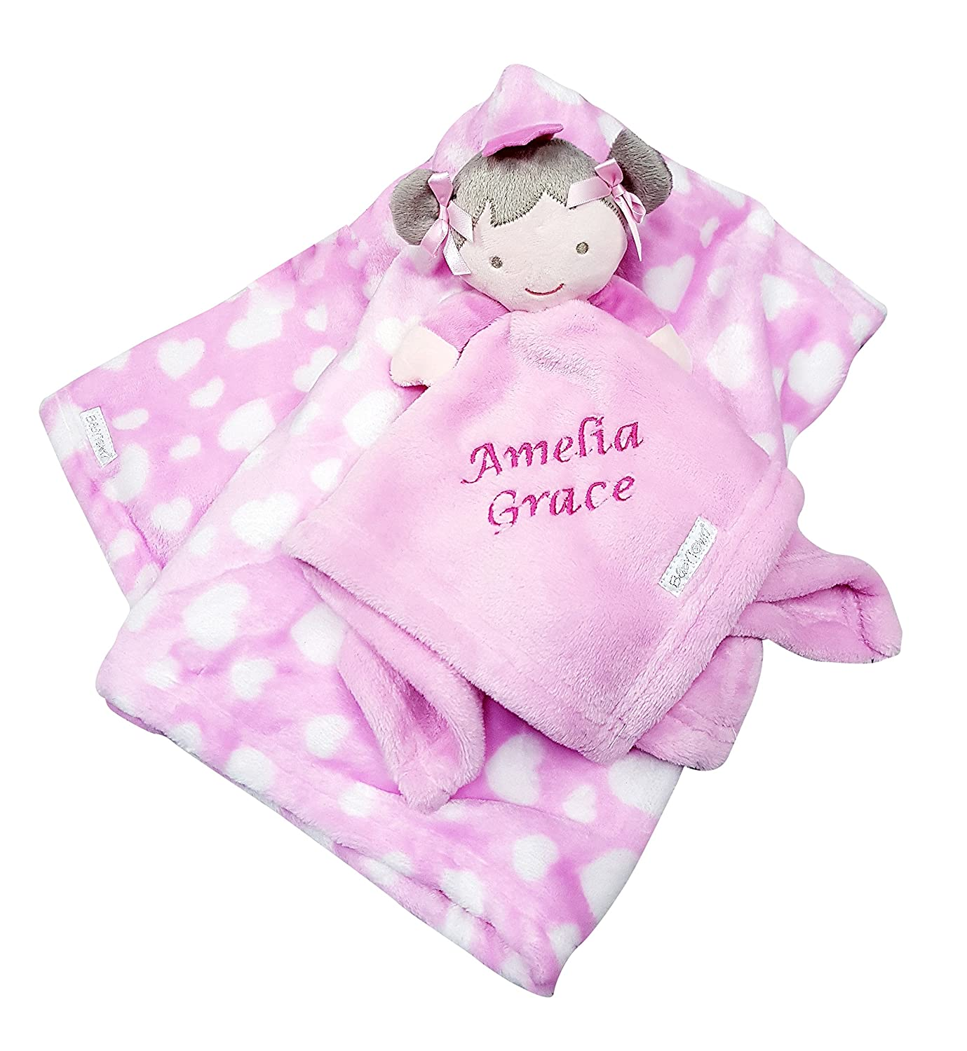 Personalised Embroidered Baby Comforter Pink Dolly + Blanket Gift Set Baby Girl Hoolaroo fdfre3443