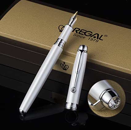 Regal - Juego de estuches para pluma estilográfica, punta mediana, colección de bolígrafos vintage, bolígrafo de regalo de empresa, tinta convertidor de recambio (blanco): Amazon.es: Oficina y papelería