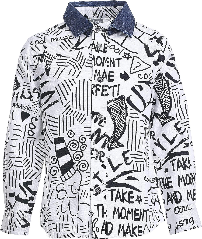 GULLIVER Camisa para niño o niño, color blanco, manga larga, 2-6 años, 98-116 cm