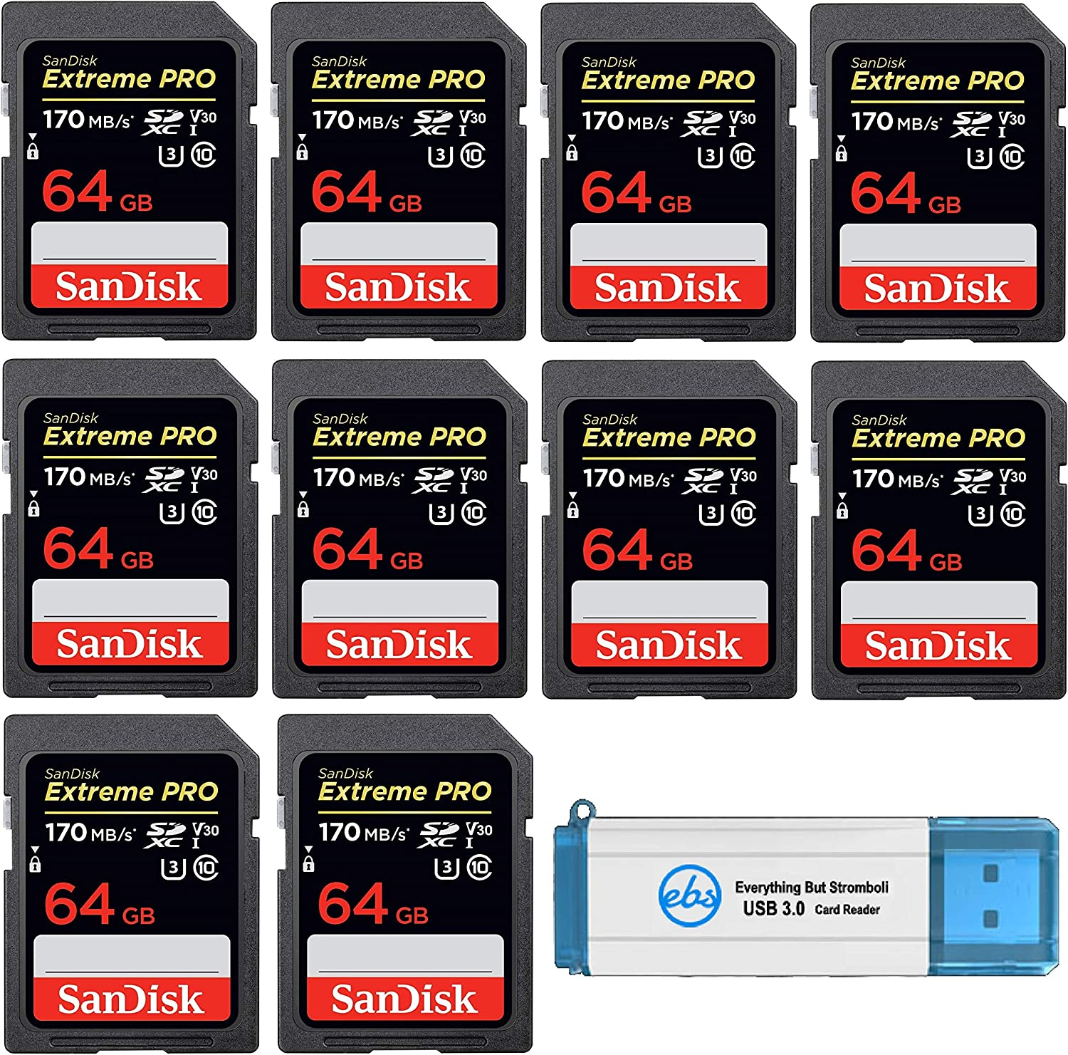 10 Pack 1 4K V30 UHS-I Speed Class 10 Everything But Stromboli 3.0 SD//TF Card Reader Bundle with SDSDXXY-064G-GN4IN SanDisk 64GB SDXC Extreme Pro Memory Card