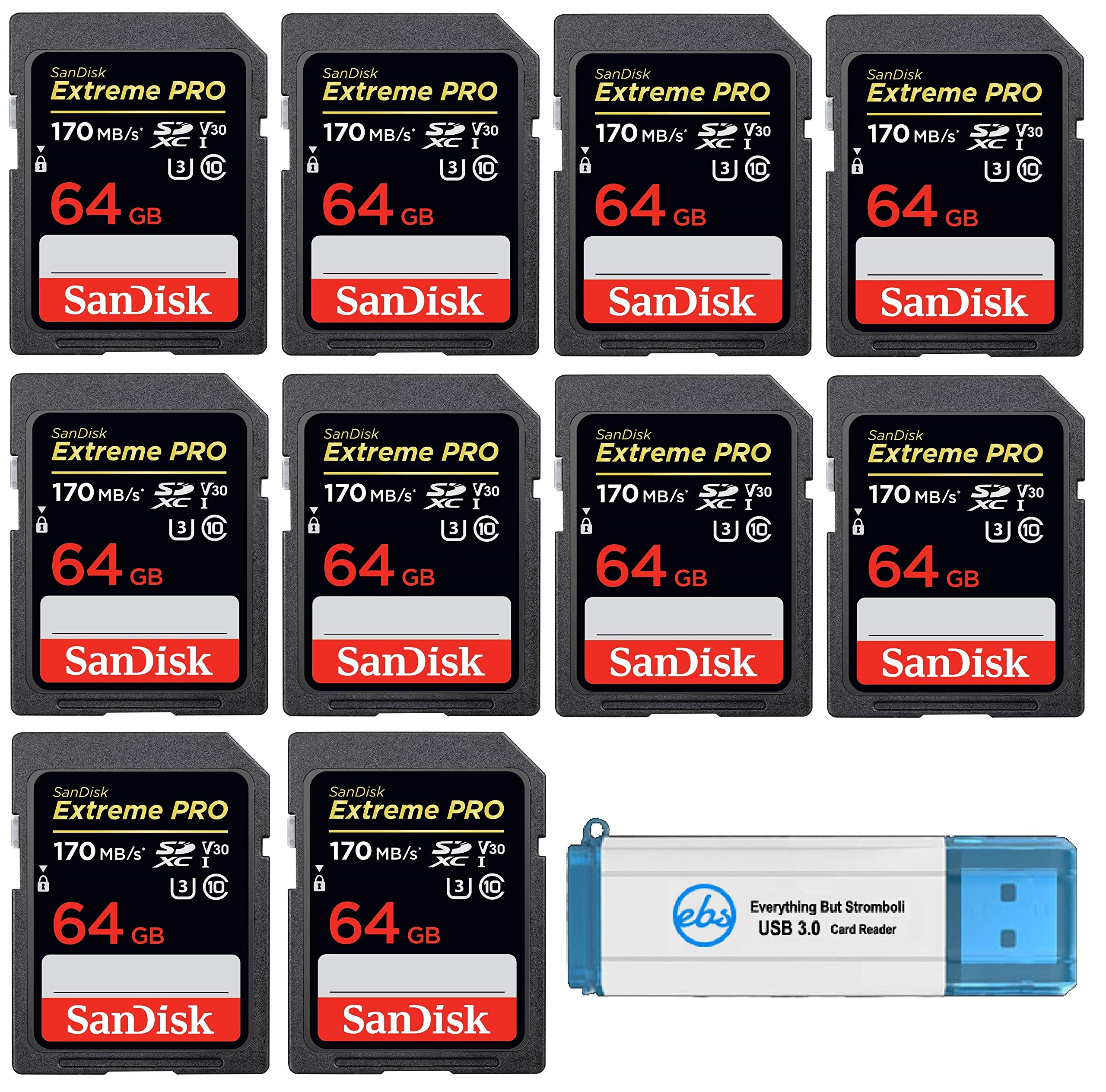 SanDisk 64GB SDXC Extreme Pro Memory Card (10 Pack Bundle) 4K V30 UHS-I Speed Class 10 (SDSDXXY-064G-GN4IN) with (1) Everything But Stromboli (TM) 3.0 SD/TF Card Reader by SanDisk