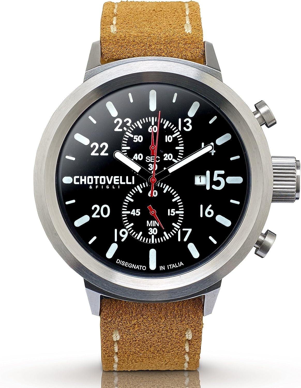 Chotovelli – Reloj cronógrafo analógico grande de piloto para hombre con correa Camel de ante 747.12