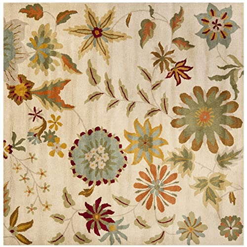 Safavieh Soho Collection SOH702A Handmade Ivory and Sage Premium Wool Square Area Rug 6 Square