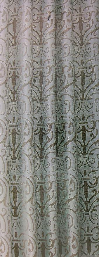 Royal Velvet Aqua Taupe Flocked Damask Fabric Shower Curtain