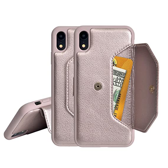 sports shoes 39584 c70b8 iPhone XR Wallet Case,PULOKA Flip Leather Cover Card Slot w/Kickstand,  Durable and Fashion for Apple iPhone XR (6.1 in) (Rose Gold)