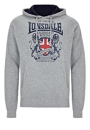 Lonsdale - Sudadera - para Hombre Gris Jaspeado XS: Amazon.es: Ropa y accesorios