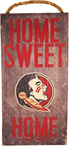 """Fan Creations NCAA Florida State Seminoles 6"""" x 12"""" Home Sweet Home Wood Sign"""
