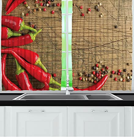 Kitchen Curtains Restaurant Supplies Decor Red Peppers Rustic Wooden