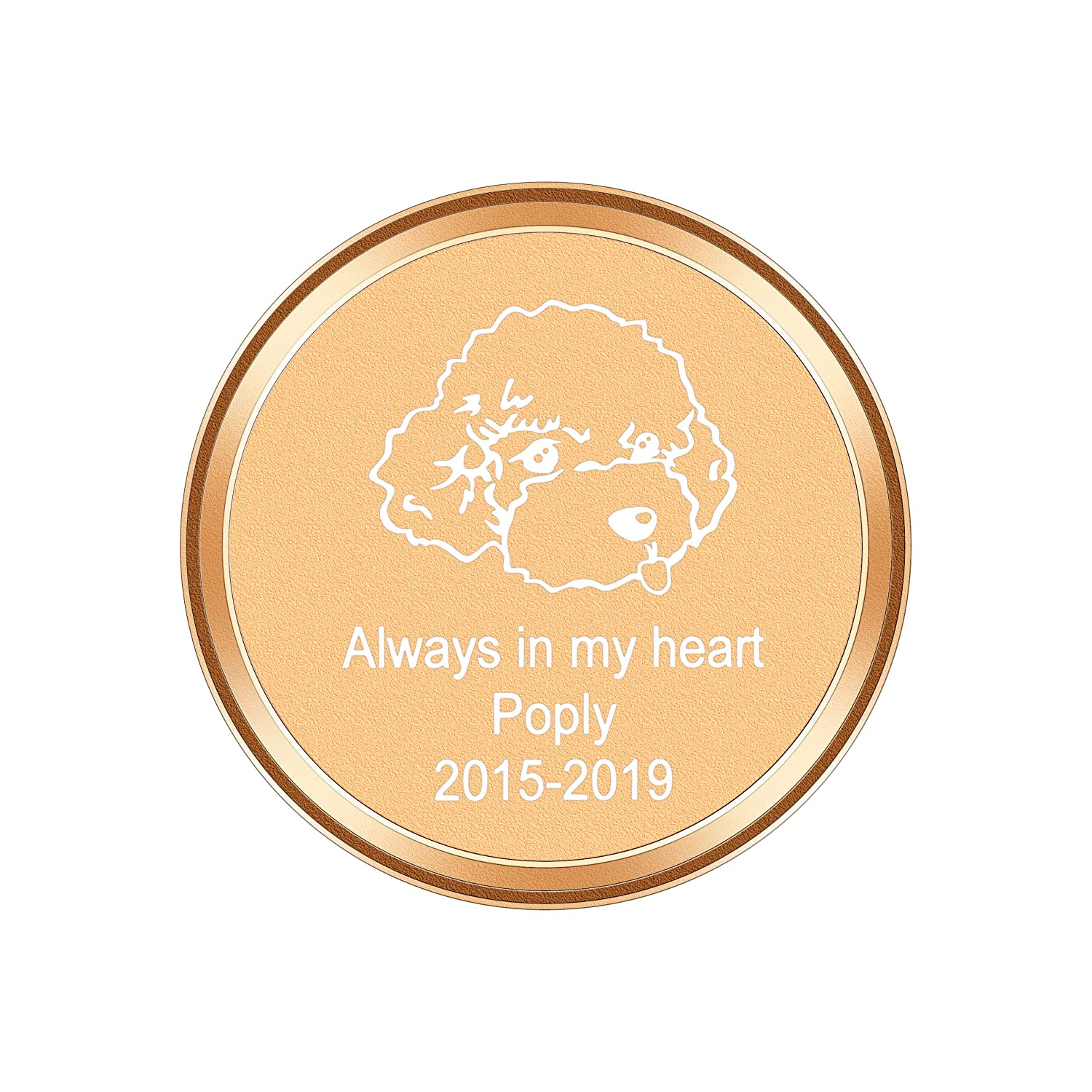 Memorial Always in my Heart Cremation Keepsakes 40mmx30mm Engraving HooAMI Stainless Steel Funeral Ashes Urns