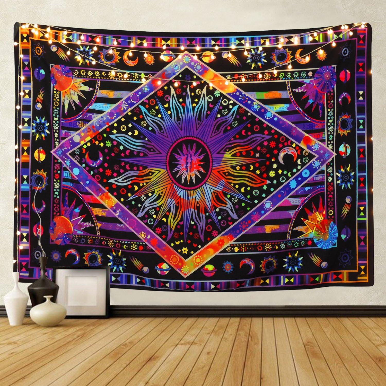 BLEUM CADE Tie Dye Purple Burning Sun Tapestry Psychedelic Celestial Sun Moon Planet Bohemian Tapestry Wall Hanging Mandala Boho Hippie Tapestry