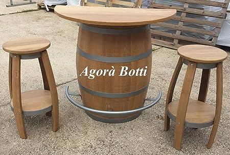 Agora Botti Botte Tavolo Da Barrique Salvaspazio Con Poggiapiedi E Due Sgabelli Amazon It Casa E Cucina