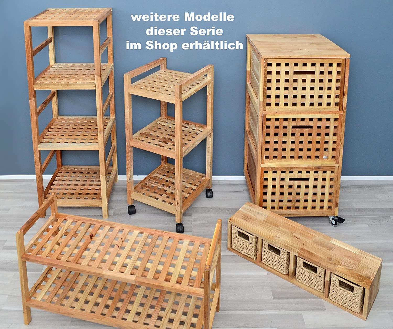 ts-ideen Regal Standregal Hochregal 117 cm aus Walnuss Massivholz ...