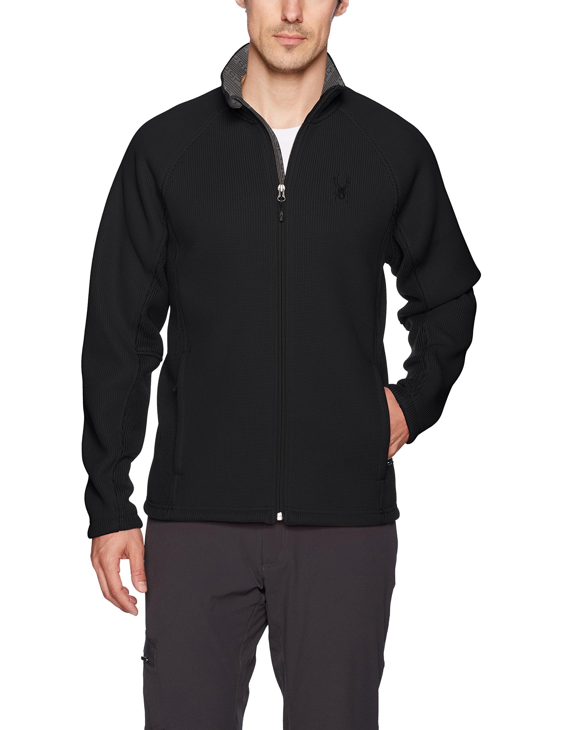 Spyder Men's Foremost Full Zip Heavy Wt Stryke Jacket, Black/Black, X-Large
