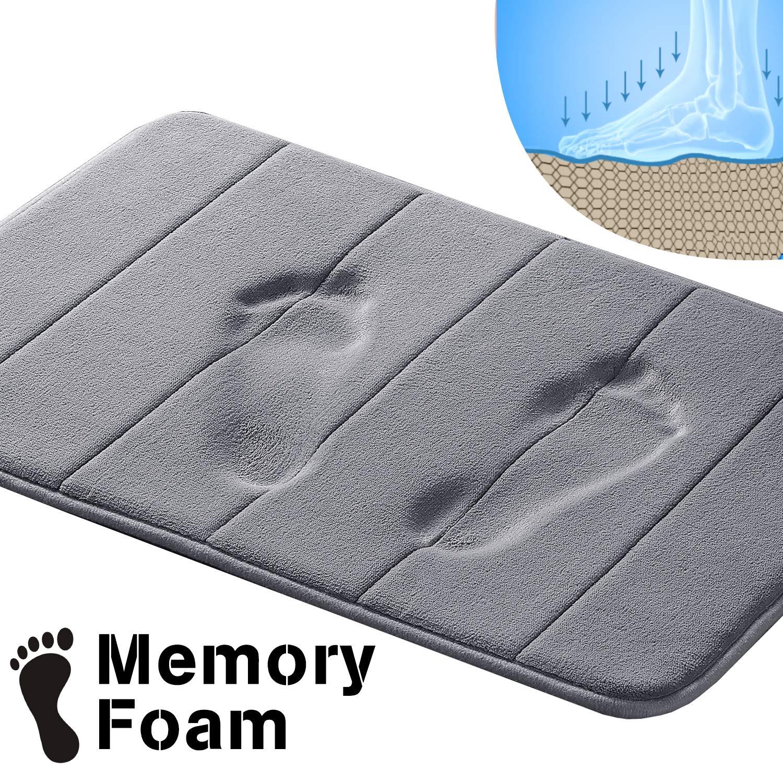 """Memory Foam Bath Mat Soft Memory Foam Non Slip Bath Mat Toilet Floor Rug Non Slip Rubber Backing Non Slip Absorbent Super Cozy Velvet Bathroom Rug Carpet (17"""" X 24"""", Gray Striped Pattern)"""