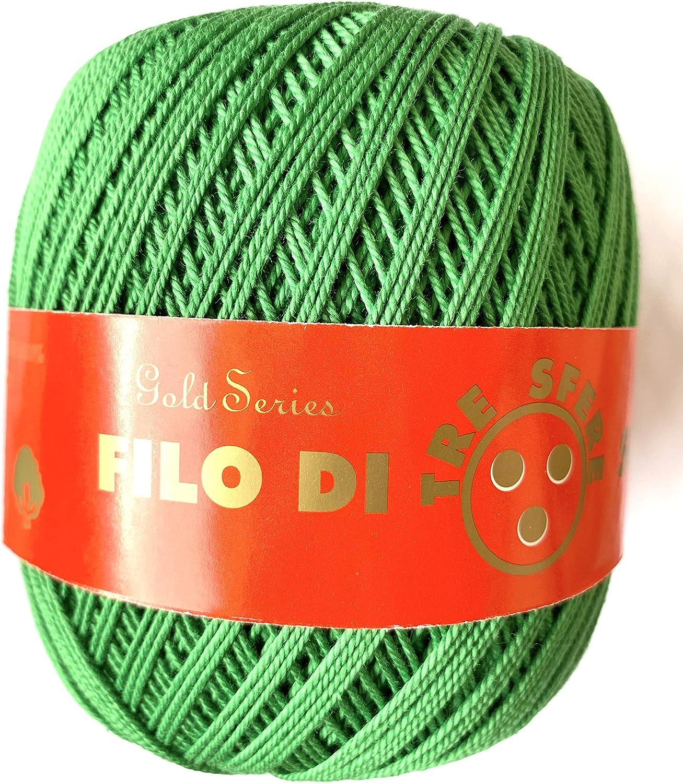 100 Grammi, 260 Metri 100/% Cotone Tre sfere Cotone per Uncinetto Numero 5 Filo di Scozia Celeste Colore 58
