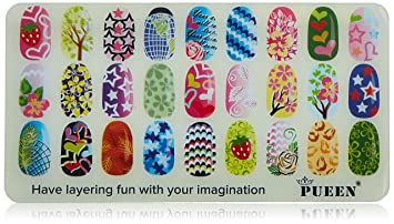 Amazon Pueen Nail Art Stamping Plate Double Fun 01 Layering