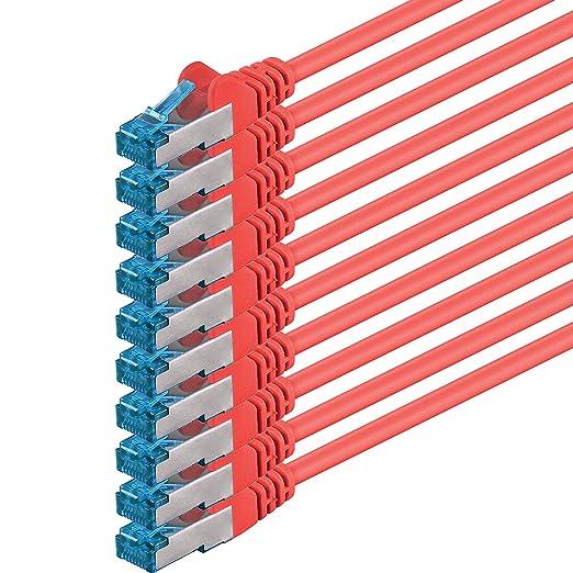 15 opinioni per 2m- rosso- 10 pezzi- Rete Cavi Cat6a   S-FTP   CAT 6a   doppia schermatura-