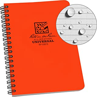 """product image for Rite In The Rain Weatherproof Side Spiral Notebook, 4.625"""" x 7"""", Orange Cover, Universal Pattern (No. OR73)"""