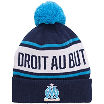 Bonnet pompon OM , Collection officielle OLYMPIQUE DE MARSEILLE , Football  , taille adulte homme