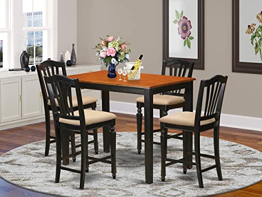 YACH5-BLK-C 5 Pc Dining counter height set - Kitchen dinette Table and 4  counter height stool.
