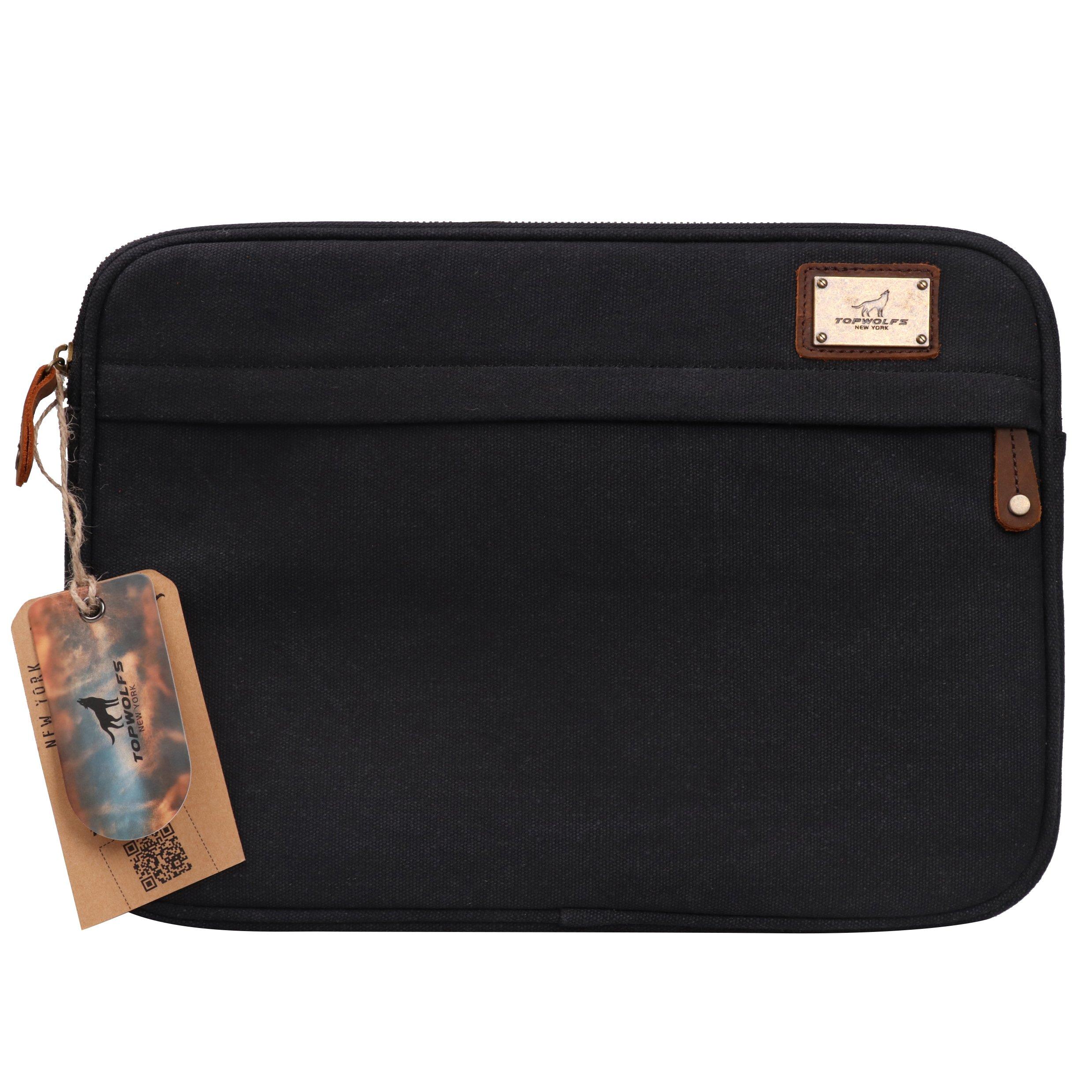 13.3'' Laptop Case TOPWOLFS Canvas Laptop Sleeve Shockproof Vintage Briefcase Computer Notebook Case Carry On Bag Hand Bag