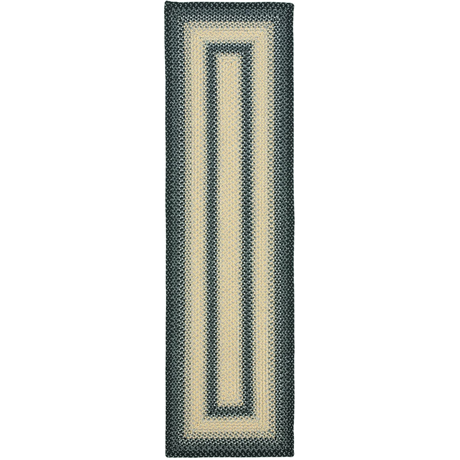 Safavieh Braided Collection BRD311A Hand Woven Black and Grey Runner, 2 feet 3 inches by 8 feet (2'3 x 8') BRD311A-28