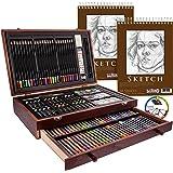 "U.S. Art Supply 143 Piece-Mega Wood Box Art, Painting & Drawing Set with Color Mixing Wheel and Bonus 2-9""x12"" Drawing…"