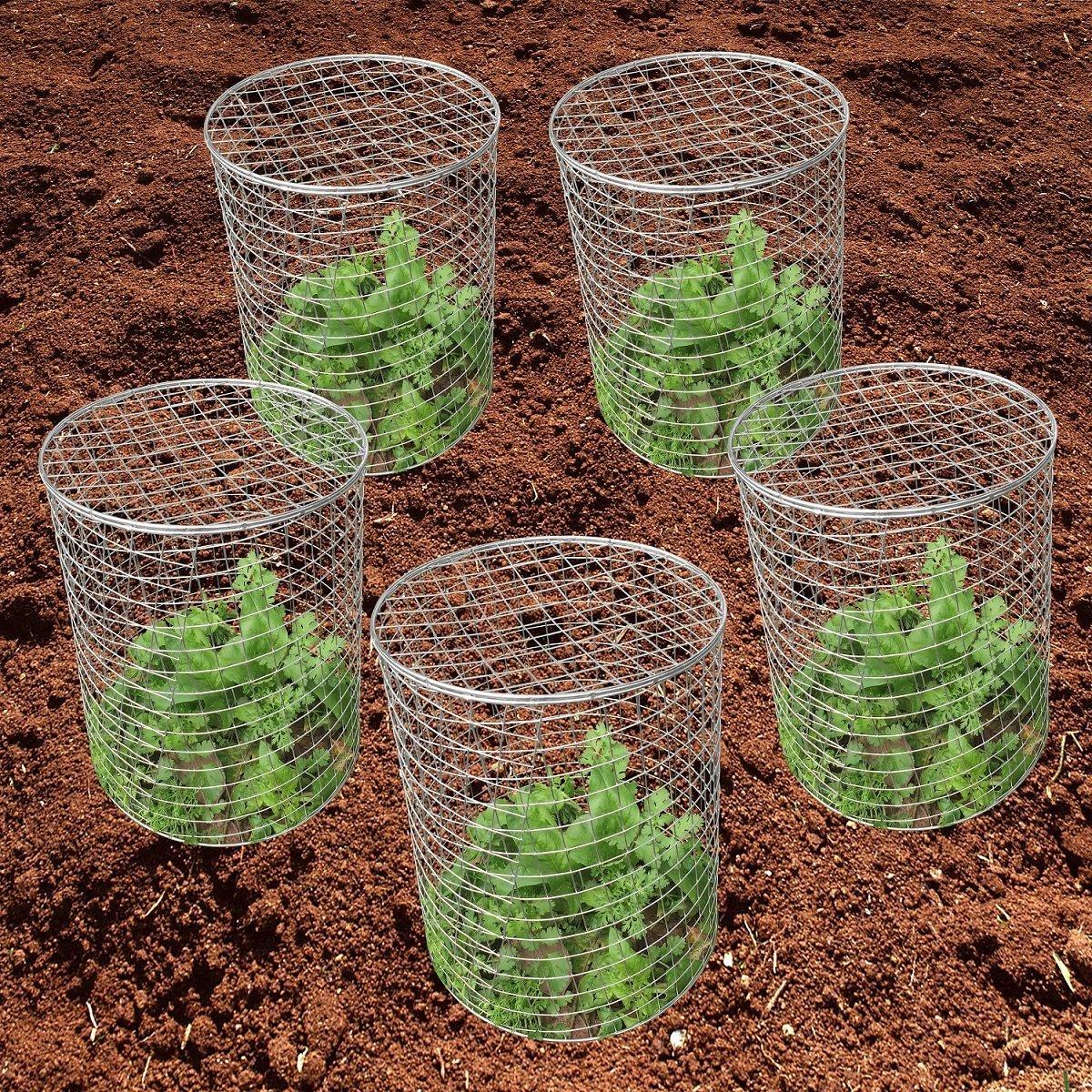 Mr Garden Pest-Pet-Off Steel Wire Barrier Mesh Basket, Chicken Wire ClocheGopher Basket with U pins, 13'' Dx15 H, 5pack