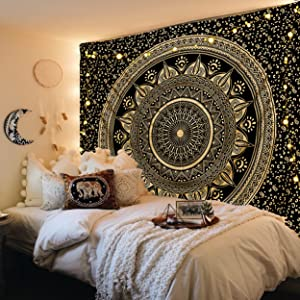 FabQual Wall Tapestry for Bedroom Aesthetic Tapestry Hippie Boho Tapestry Indie Tapestry Bohemian Mandala Tapestry Cool Spiritual Trippy Large Tapestry Wall Hanging Black and Gold - Queen (85x90 in)