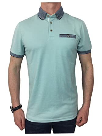 fc6b17a4d46aef Ted Baker Mens S S Oxford Flat Knit Collar Polo Shirt in Mint 3XL   Amazon.co.uk  Clothing