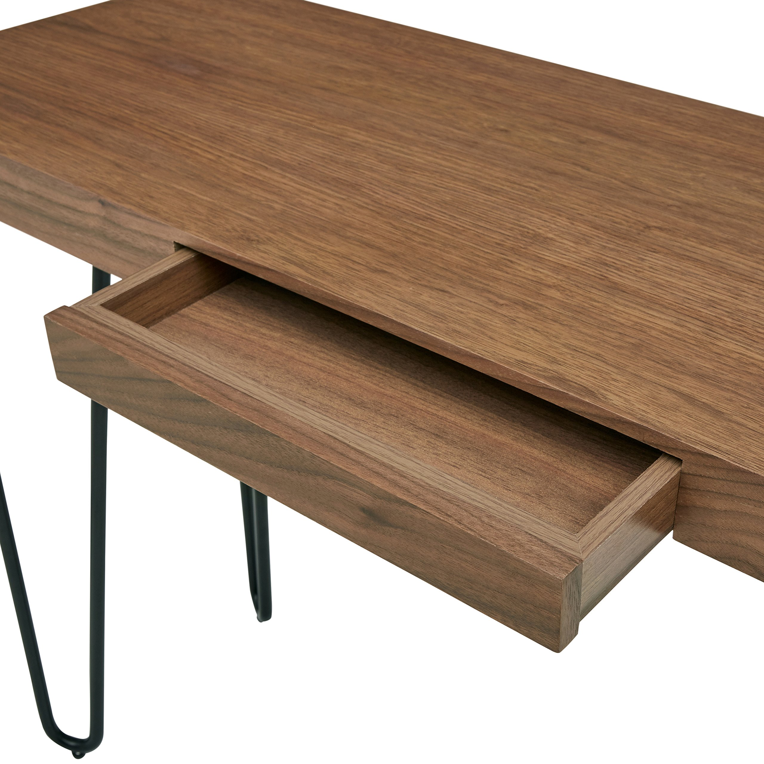 Rivet Hairpin Wood and Metal Tall 29.5'' Console Table, Walnut and Black by Rivet (Image #4)