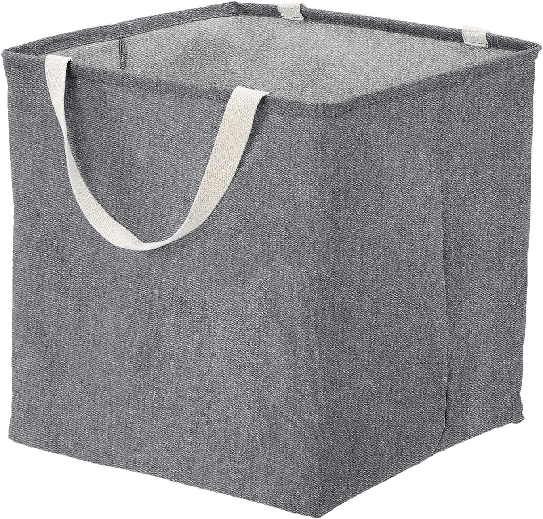 AmazonBasics Fabric Storage Bin Basket - Large Cube, Charcoal Grey