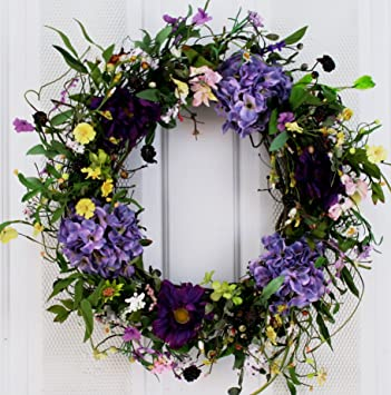 Spring Medley Silk Flower Wreath 22 Inch   Best Seller For Spring And  Summer Front Door