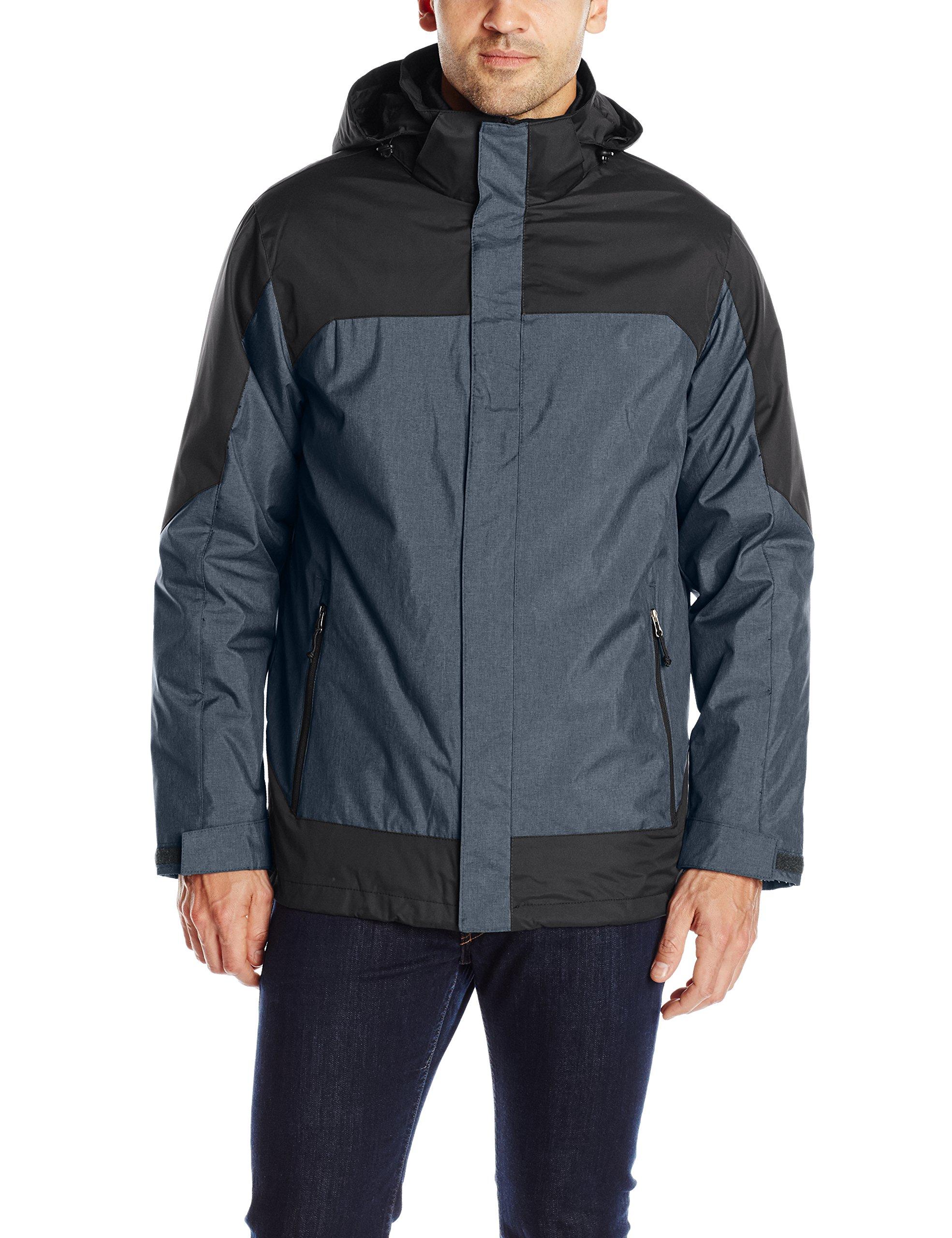 32Degrees Weatherproof Men's 3 in 1 Systems Jacket Colorblock, Navy Melange/Black, Large by 32 DEGREES