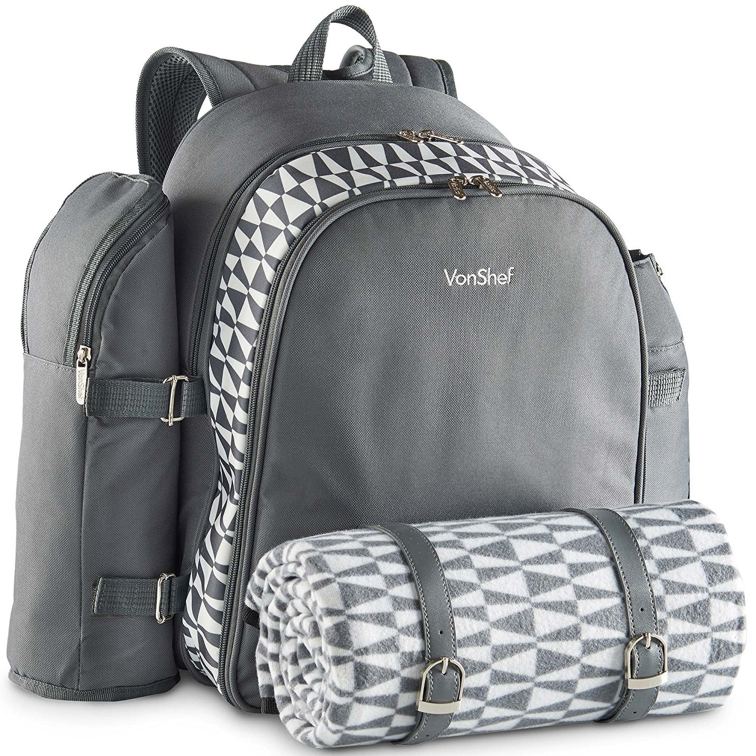 VonShef 4 Person Outdoor Picnic Backpack Bag Set With Blanket – Includes 29 Piece Dining Set & Insulated Cooler Compartment to Keep Food Chilled for Longer - Gray by VonShef (Image #4)
