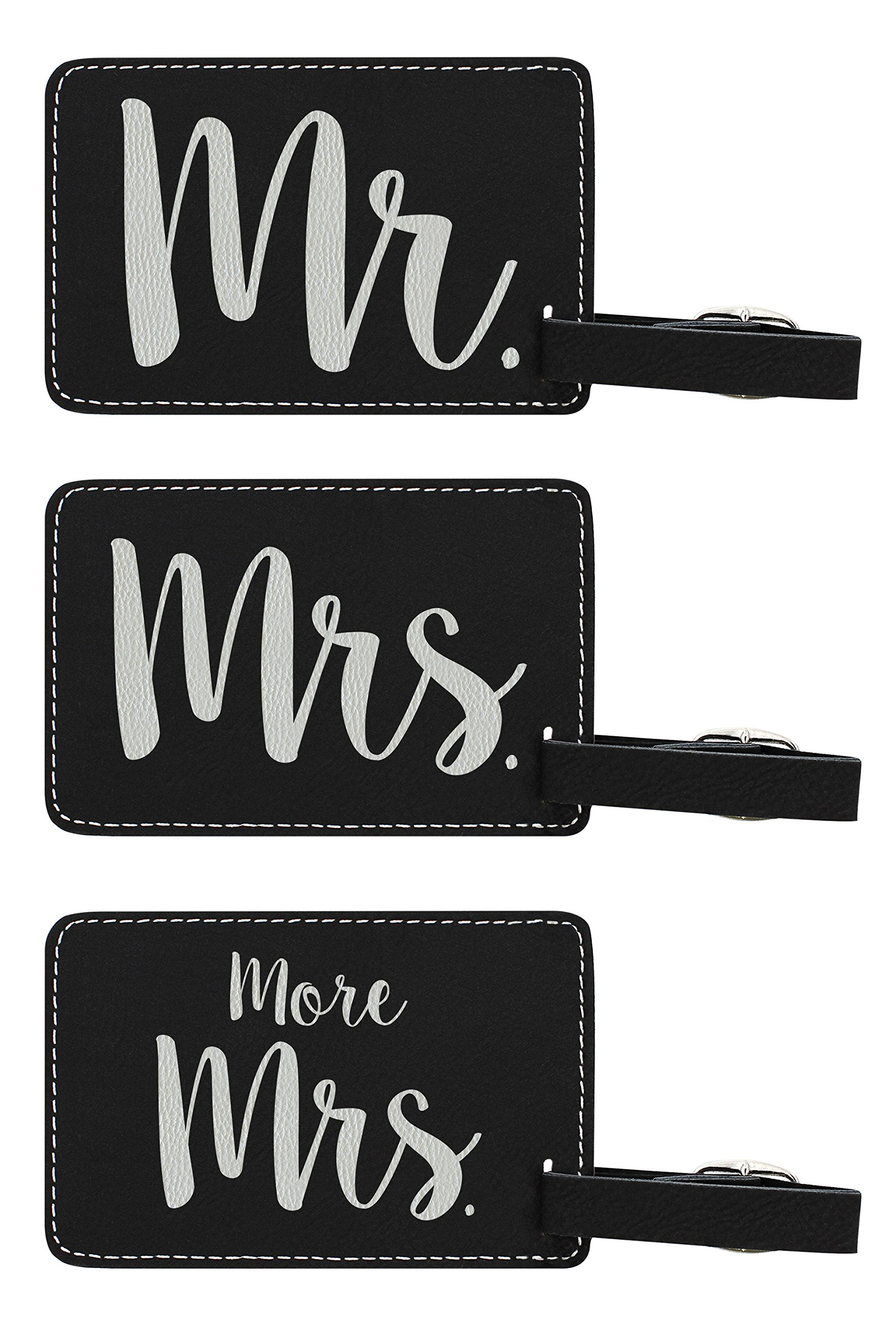 Luggage Tags for Couples Mr & Mrs & More Mrs Matching Couples Luggage Tags Couples Gifts for Newlyweds Anniversary Gifts 3-pack Laser Engraved Leather Luggage Tags Black by ThisWear