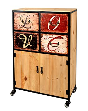 ts-ideen Container estantería cómoda armario de diseño estilo retro shabby LOVE industrial con hierro, ruedas y cajones: Amazon.es: Hogar
