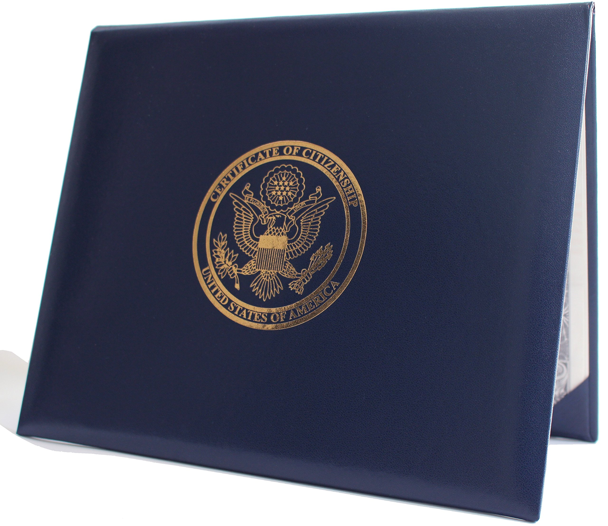U.S. Citizenship and Naturalization Certificate Padded Holder with Cover. Gold American Eagle Logo 'Certificate of Citizenship', United States of America'. Illustrated Inside with The 14th Amendment